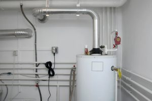 tank water heater with pipes